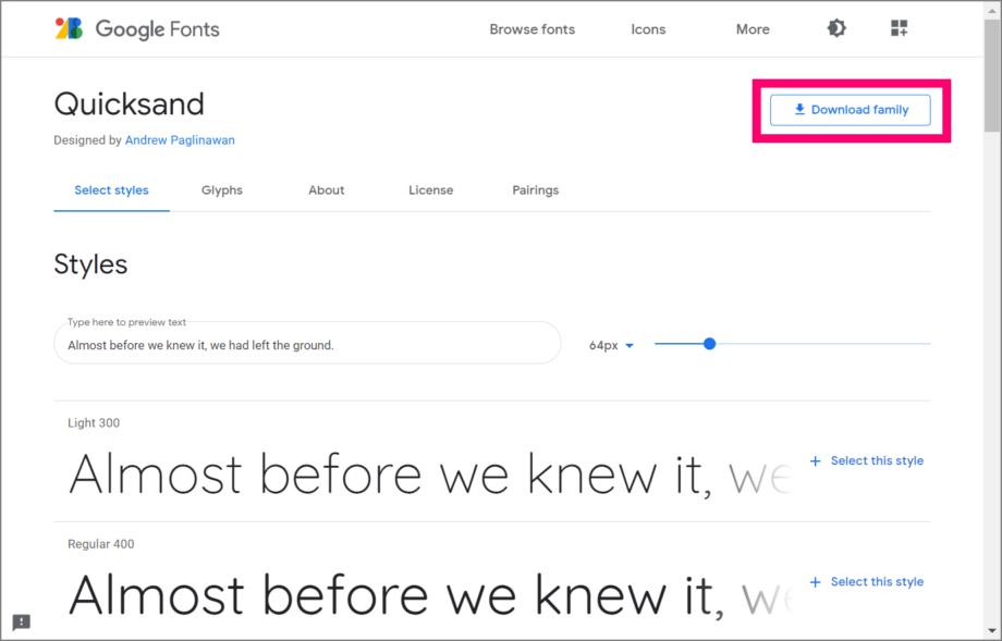 Google Fonts をダウンロードする方法