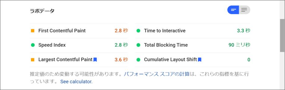 PageSpeed Insights Web フォント対応前スコア ラボデータ