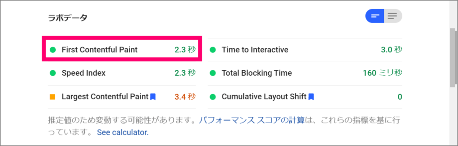 PageSpeed Insights Web フォント対応後スコア ラボデータ